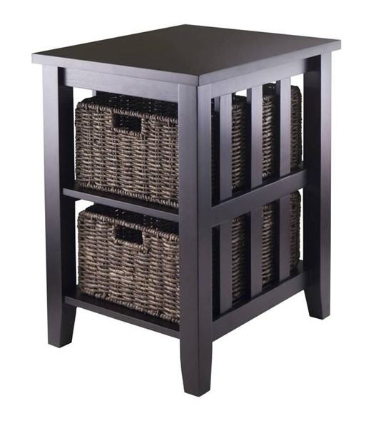 Winsome Morris Espresso Wood Side Table with 2 Foldable Baskets WNS-92312