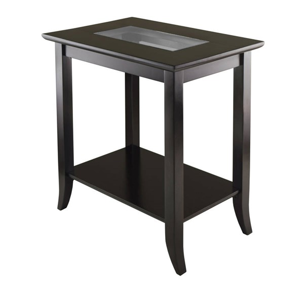 Winsome Genoa Dark Espresso Solid Wood Glass Top Shelf Rectangular End Table WNS-92419