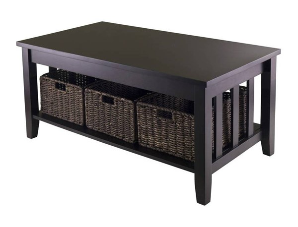 Winsome Morris Espresso Wood Coffee Table with 3 Foldable Baskets WNS-92441