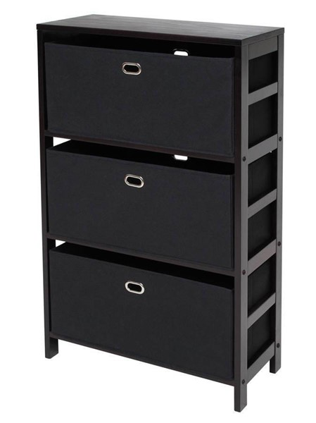Winsome Torino Espresso Solid Wood 4pc Storage Shelf with Black Fabric Baskets WNS-92459