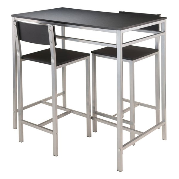 Winsome Hanley Black MDF Metal 3pc High Table Set WNS-93336