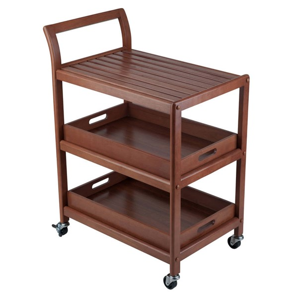 Winsome Albert Walnut Solid Wood Entertainment Cart WNS-94138