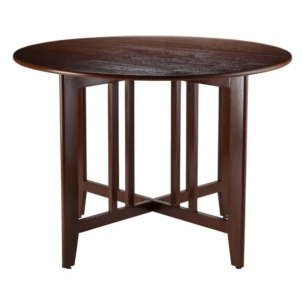 Winsome Alamo Antique Walnut Solid Wood Double Drop Leaf Round 42 Inch Dining Table WNS-94142