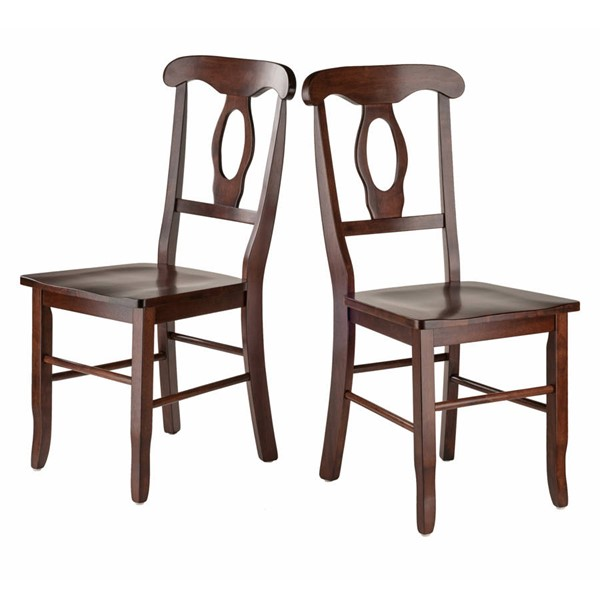 2 Winsome Renaissance Walnut Solid Wood Key Hole Back Chairs WNS-94208