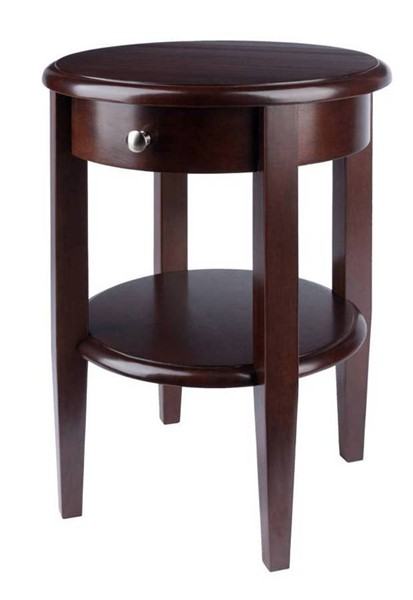 Winsome Concord Antique Walnut Solid Wood Drawer and Shelf Round End Table WNS-94217