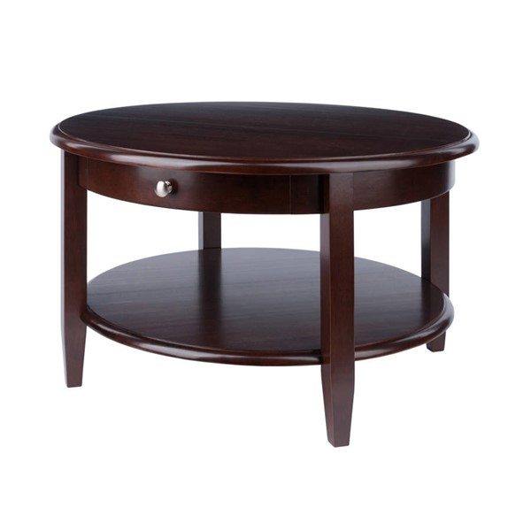 Winsome Concord Antique Walnut Solid Wood Drawer and Shelf Round Coffee Table WNS-94231