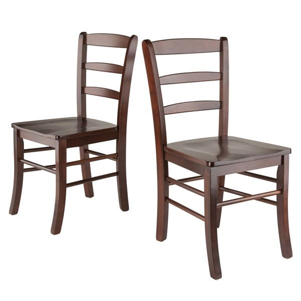 2 Winsome Benjamin Antique Walnut Solid Wood Ladder Back Chairs WNS-94232