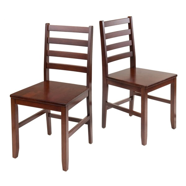 2 Winsome Hamilton Antique Walnut Solid Wood Ladder Back Chairs WNS-94236