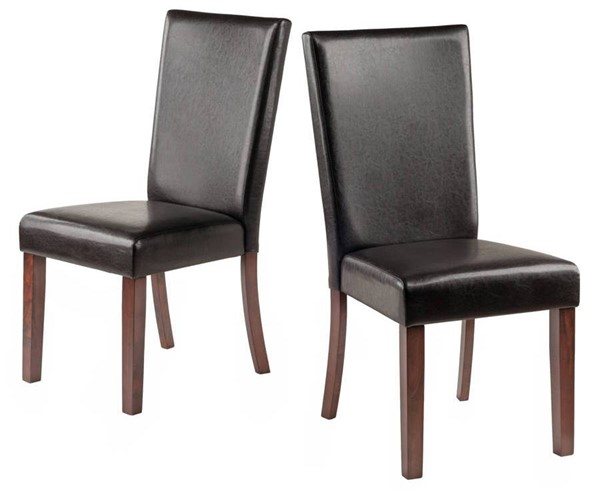 2 Winsome Johnson Espresso Leather Solid Wood Chairs WNS-94237