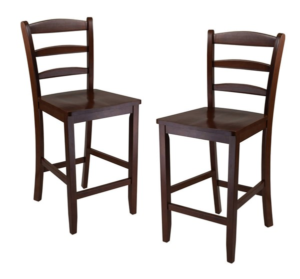 2 Winsome Benjamin Antique Walnut Solid Wood Ladder Back 24 Inch Counter Stools WNS-94244