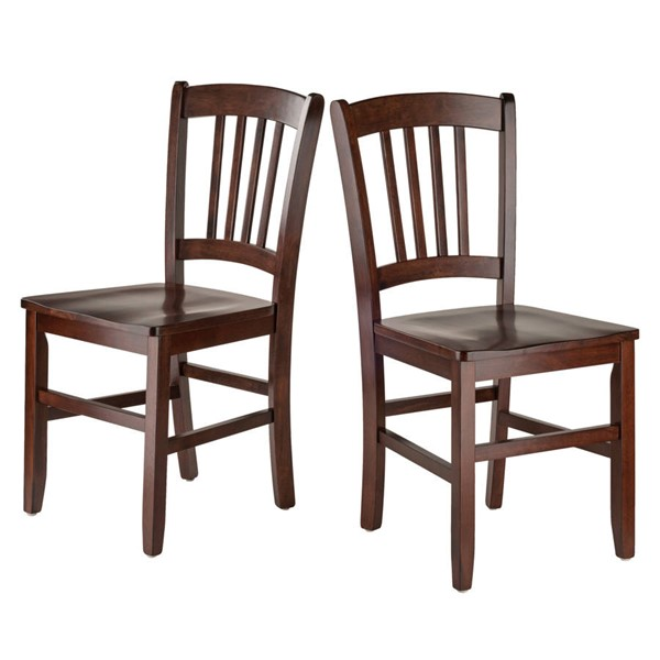 2 Winsome Madison Walnut Solid Wood Slat Back Chairs WNS-94245