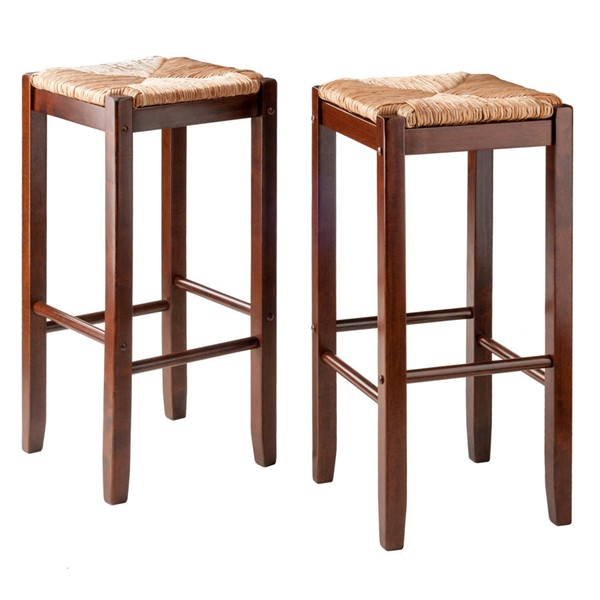2 Winsome Kaden Walnut Solid Wood Bar Stools WNS-94280