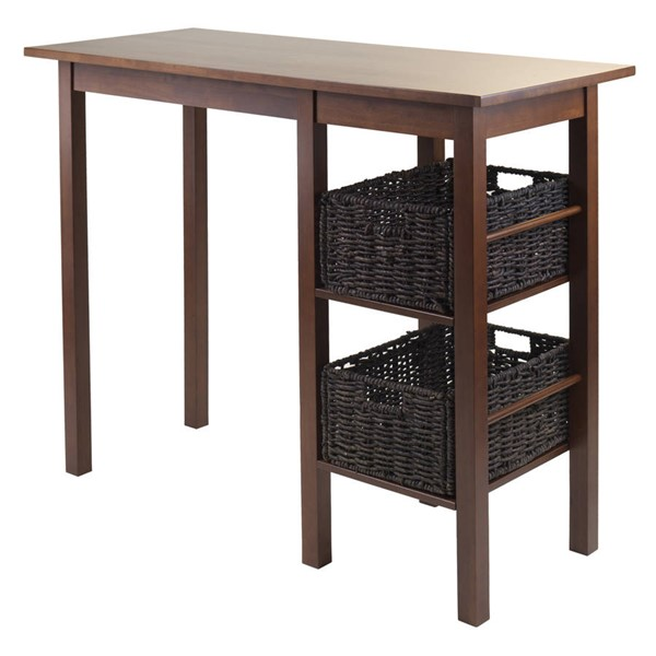 Winsome Egan Antique Walnut Solid Wood 3pc Breakfast Table with 2 Baskets Set WNS-94307
