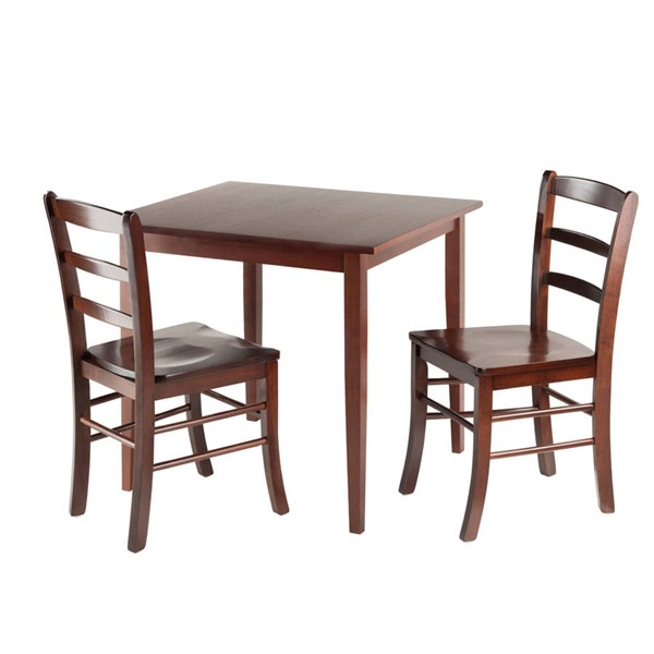 Winsome Groveland Antique Walnut Solid Wood Square 3pc Dining Room Set WNS-94332
