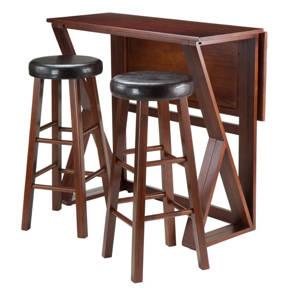 Winsome Harrington Antique Walnut Solid Wood Round Seat 3pc Hight Table Set WNS-94336
