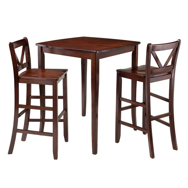 Winsome Inglewood Walnut Solid Wood 3pc Hight Table Set WNS-94337
