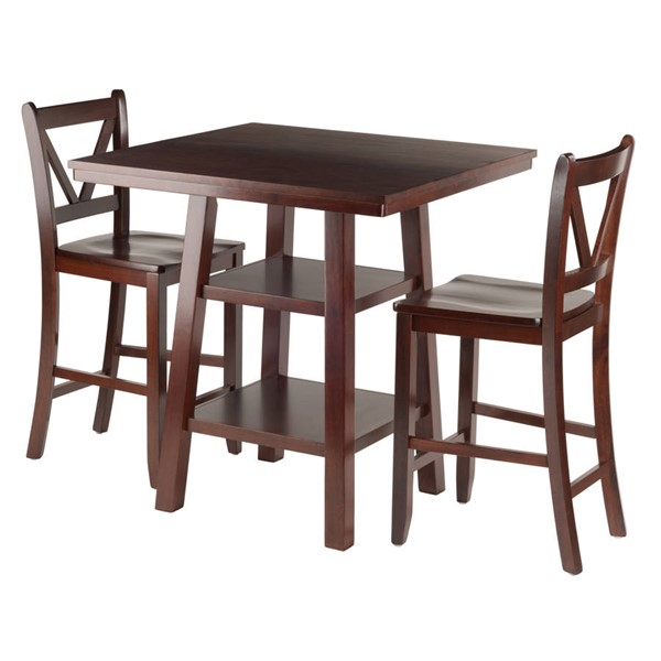 Winsome Orlando Walnut Solid Wood 3pc Counter Hight Set WNS-94351