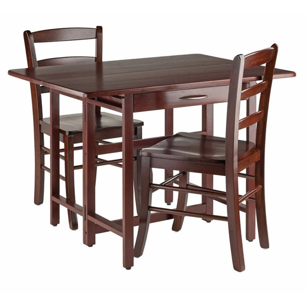 Winsome Taylor Walnut Solid Wood Drop Leaf 3pc Dining Room Set WNS-94353