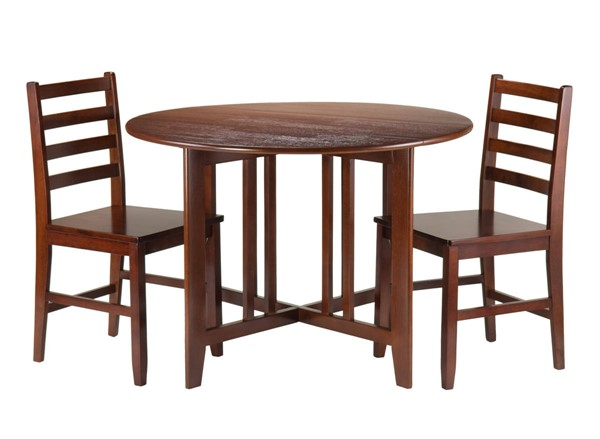 Winsome Alamo Walnut Solid Wood Round Drop Leaf 3pc Dining Room Set WNS-94356