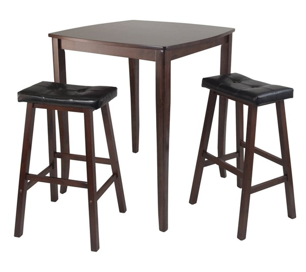 Winsome Inglewood Antique Walnut Solid Wood 3pc Pub Table Set WNS-94360