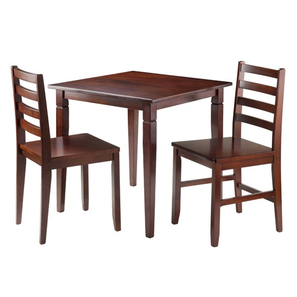 Winsome Kingsgate Walnut Solid Wood 3pc Dinning Room Set WNS-94363