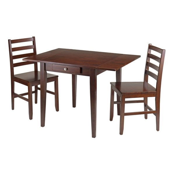 Winsome Hamilton Antique Walnut Solid Wood Drop Leaf 3pc Dining Table Set WNS-94366