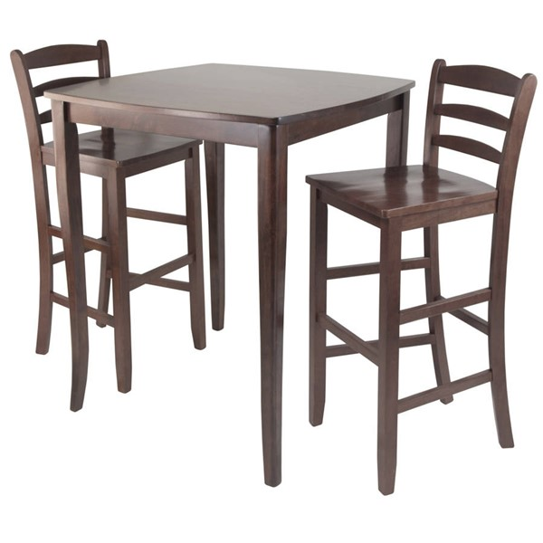 Winsome Inglewood Antique Walnut Solid Wood 3pc Pub Hight Set with Ladder Back Stool WNS-94379
