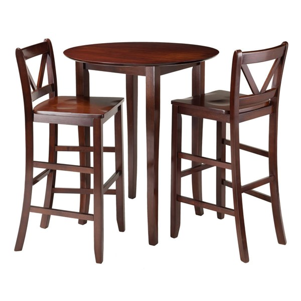 Winsome Fiona Antique Walnut Solid Wood Round 3pc Hight Set WNS-94385
