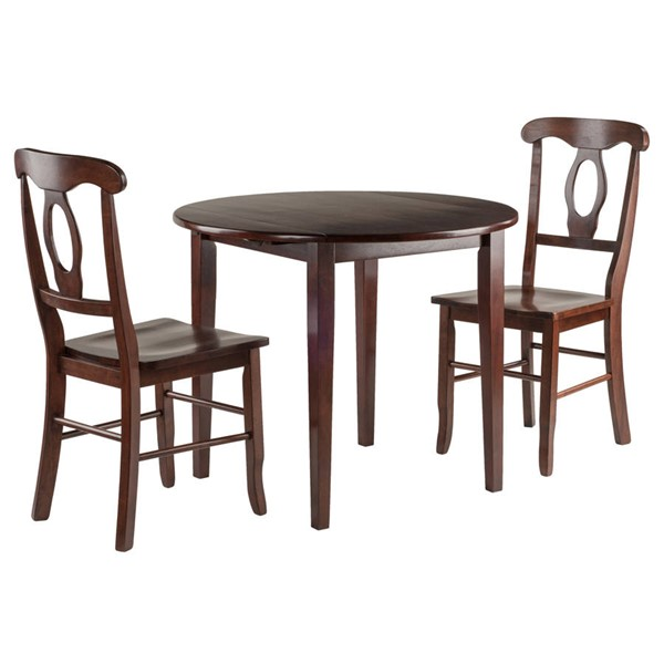 Winsome Clayton Walnut Drop Leaf 3pc Dining Room Set with 2 Keyhole Back Chairs WNS-94388