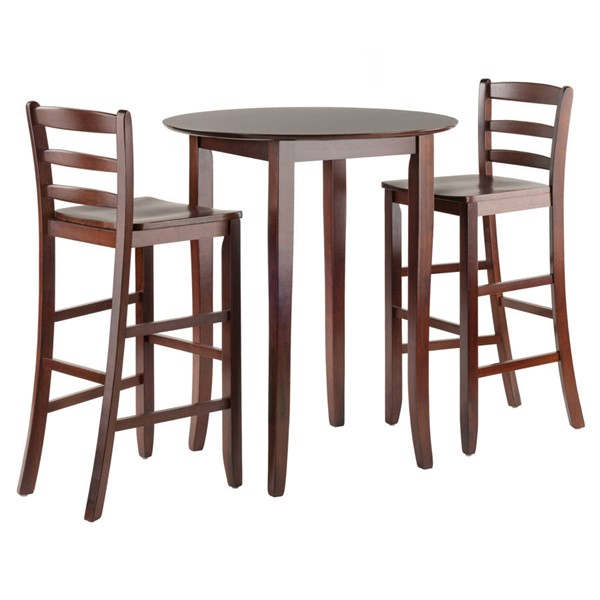 Winsome Fiona Antique Walnut Solid Wood Round 3pc Hight Table Set WNS-94389