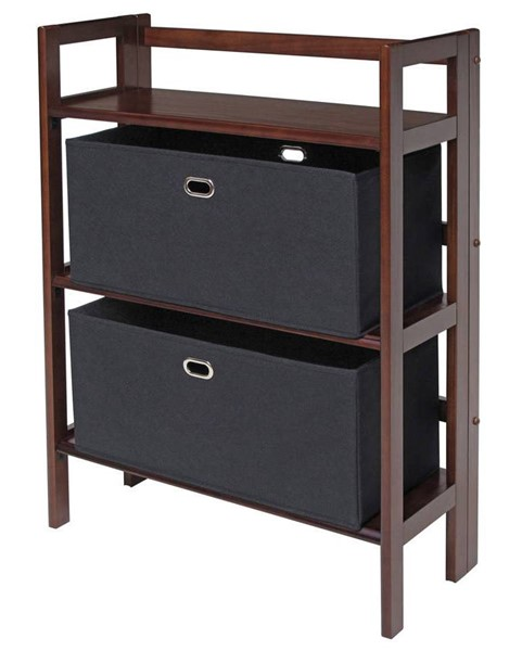 Winsome Torino Antique Walnut Solid Wood 3pc Folding Bookcase Set with Black Fabric Basket WNS-94395