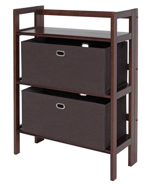 Winsome Torino Espresso Solid Wood 3pc Folding Bookcase Set with Chocolate Fabric Basket WNS-94397