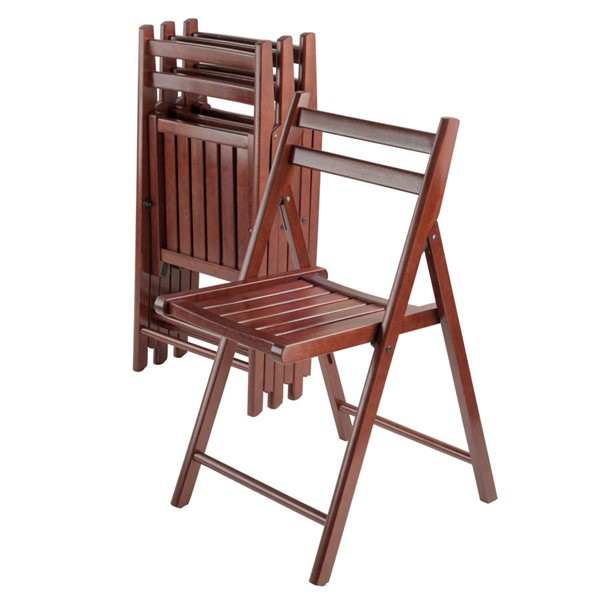 4 Winsome Robin Walnut Solid Wood Folding Chairs WNS-94415