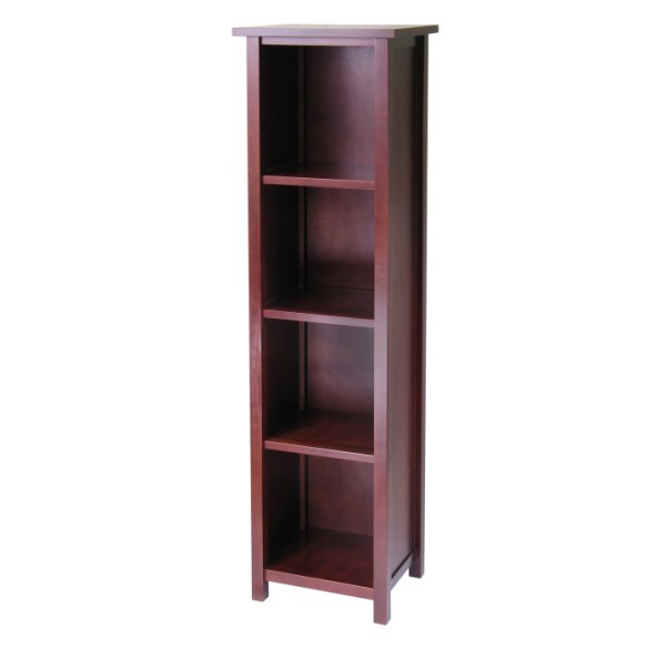 Winsome Milan Antique Walnut Solid Wood Tall 5 Tier Storage Shelf Bookcase WNS-94416