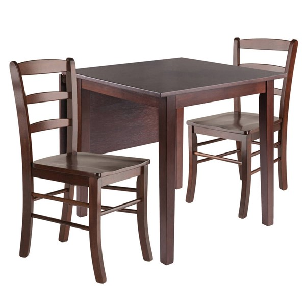 Winsome Perrone Walnut Solid Wood Drop Leaf 3pc Dining Room Set WNS-94437