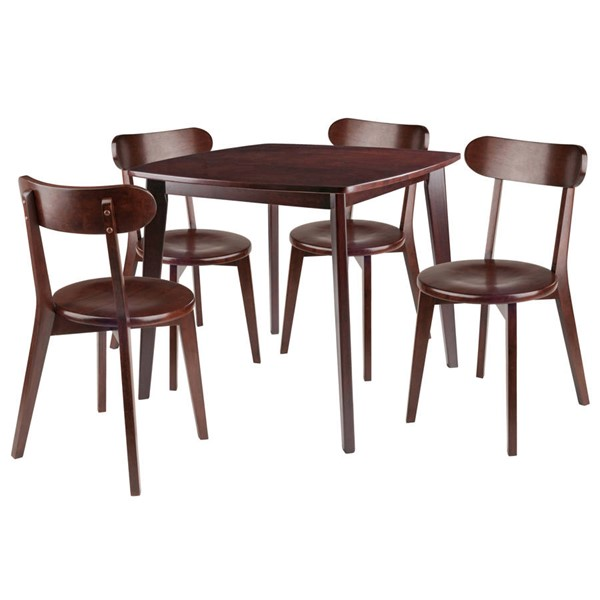 Winsome Pauline Walnut Solid Wood 5pc Dining Room Set WNS-94504