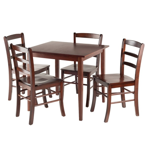 Winsome Groveland Antique Walnut Solid Wood Square 5pc Dining Room Set WNS-94532