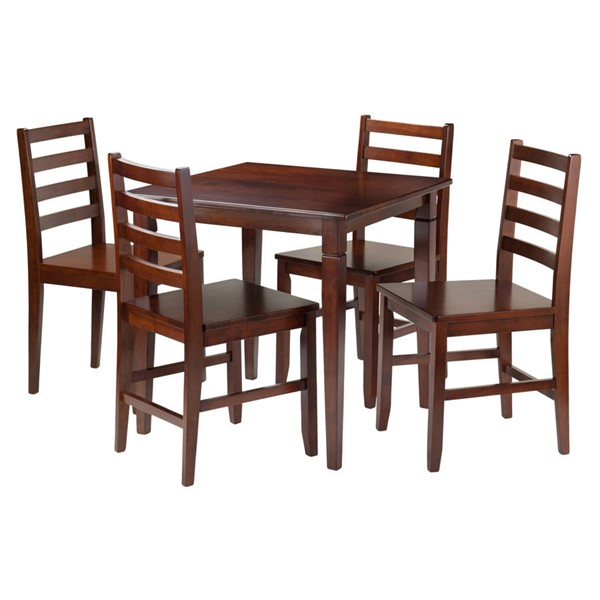 Winsome Kingsgate Walnut Solid Wood 5pc Dining Room Set WNS-94537
