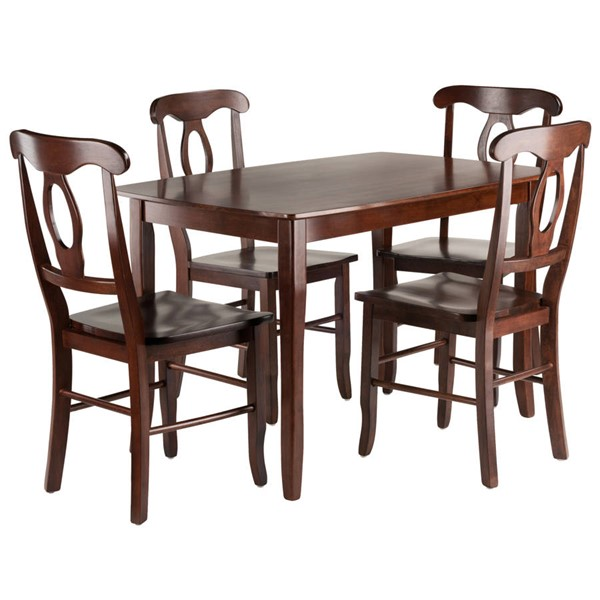 Winsome Inglewood Walnut Solid Wood 5pc Dining Room Set with 4 Key Hole Back Chairs WNS-94547