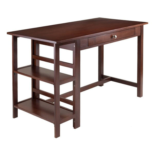 Winsome Velda Antique Walnut Solid Wood 2 Shelves Writing Desk WNS-94550