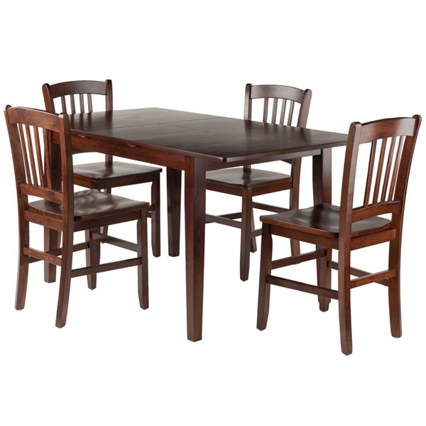 Winsome Anna Walnut Solid Wood 5pc Dining Room Set with Slat Back Chairs WNS-94552