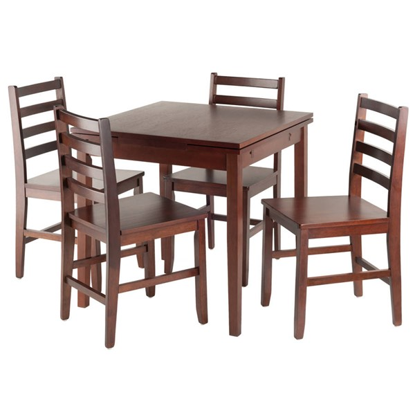 Winsome Pulman Walnut Extension 5pc Dining Room Set with Ladder Back Chairs WNS-94556