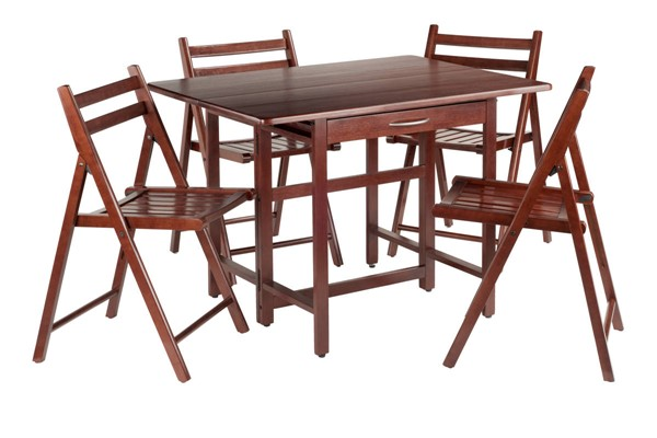 Winsome Taylor Walnut Drop Leaf 5pc Dining Room Set with 4 Folding Chairs WNS-94557