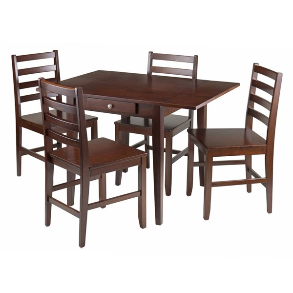 Winsome Hamilton Antique Walnut Solid Wood Drop Leaf 5pc Dining Rom Set WNS-94561