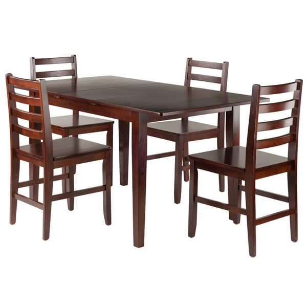 Winsome Anna Walnut Solid Wood 5pc Dining Room Set with Ladder Back Chairs WNS-94566