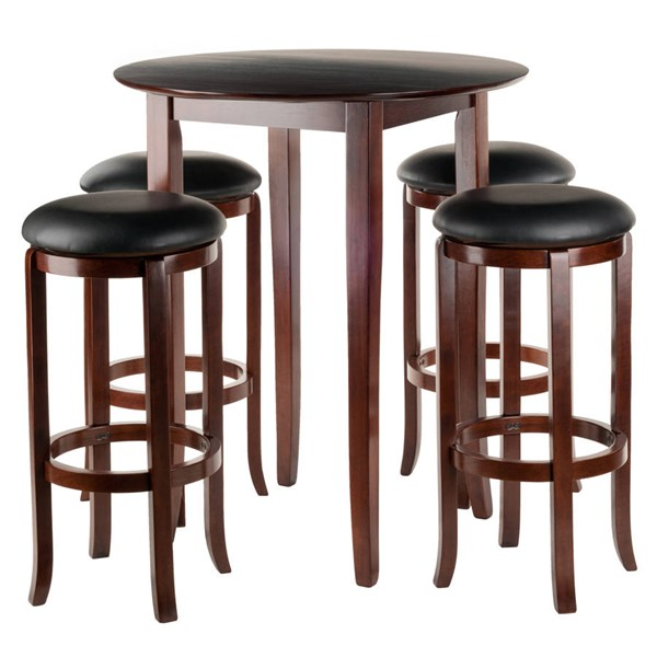 Winsome Fiona Antique Walnut Solid Wood Round 5pc Pub Table Set WNS-94581