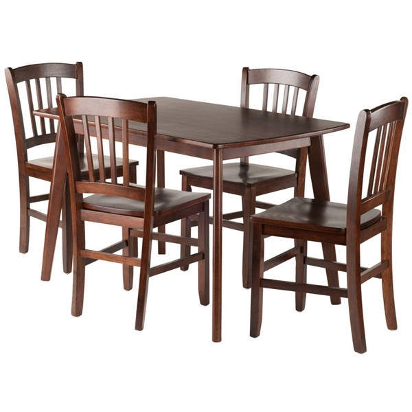 Winsome Shaye Walnut Solid Wood 5pc Dining Room Set with Slat Back Chairs WNS-94582
