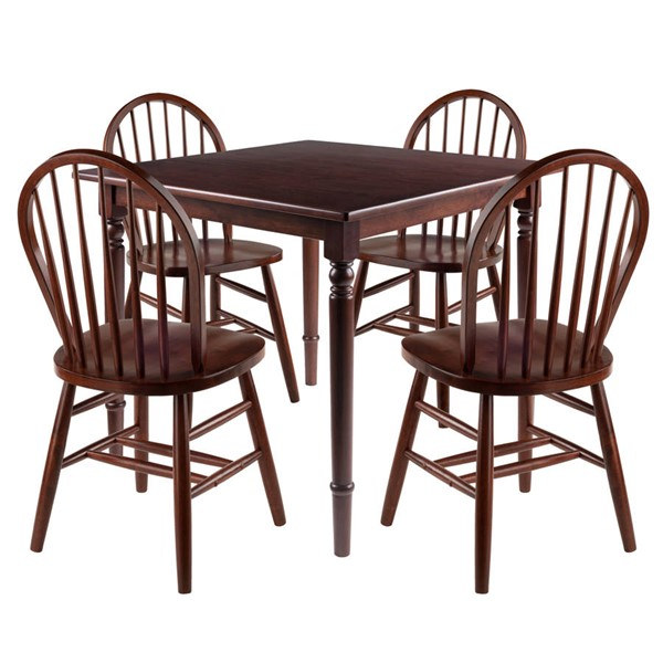 Winsome Mornay Walnut Solid Wood 5pc Dining Room Set with Windsor Chairs WNS-94596