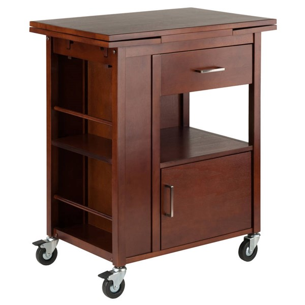 Winsome Gregory Walnut Solid Wood Kitchen Cart WNS-94643