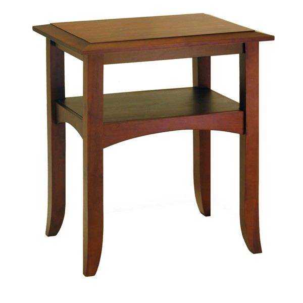 Winsome Craftsman Antique Walnut Solid Wood End Table with Shelf WNS-94723
